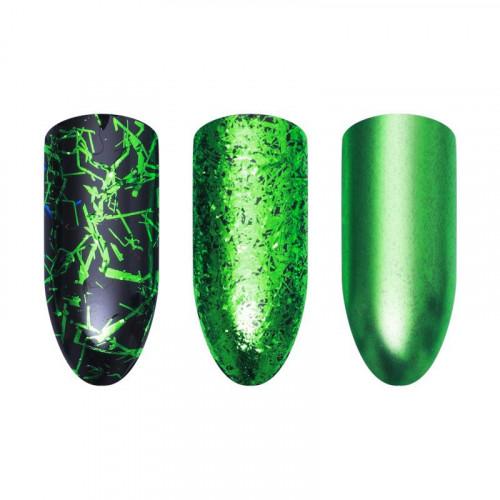 Хлопья для дизайна ногтей Galaxy Wow (зеленый)